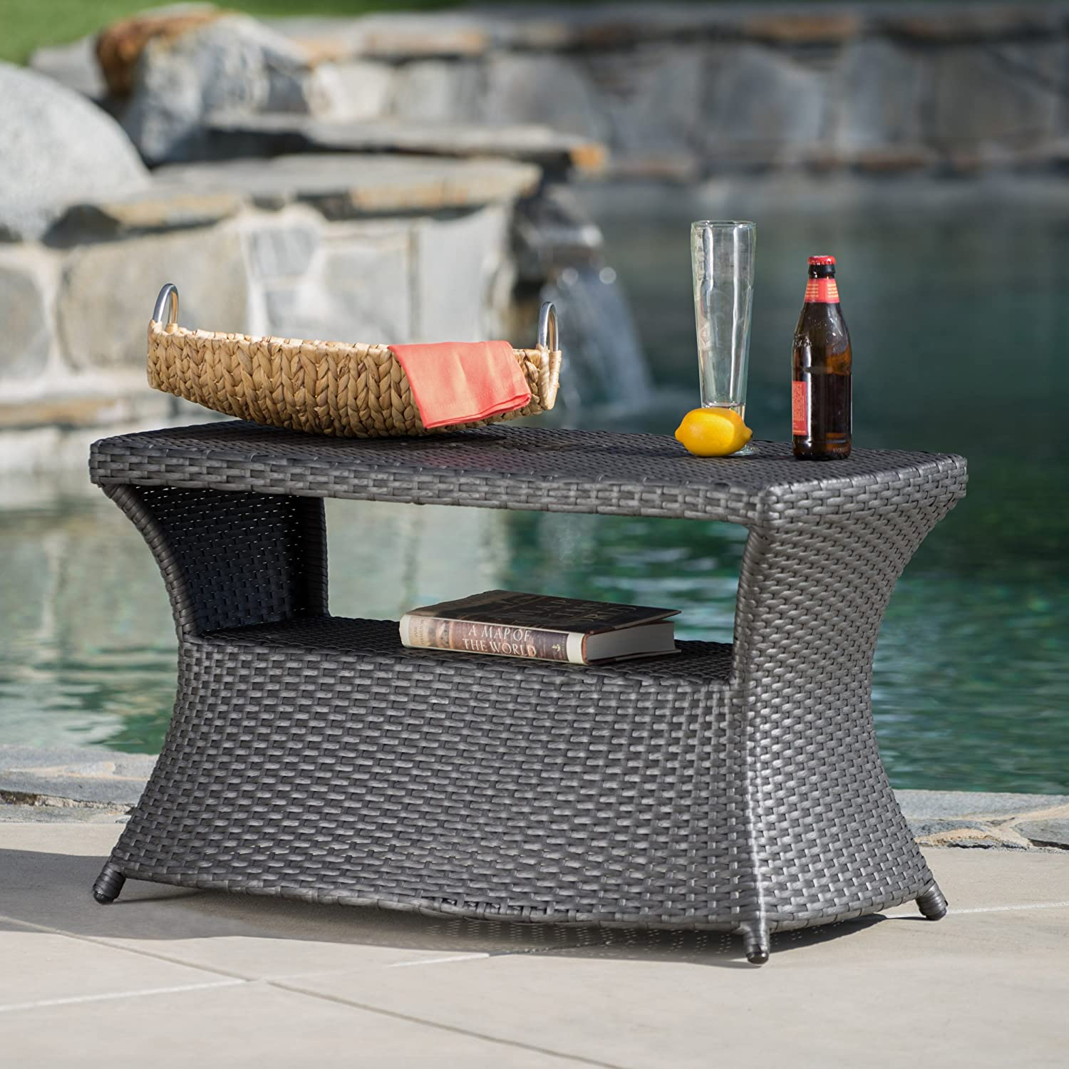 Christopher Knight Home 300301 Banta Outdoor Wicker Side Table Grey