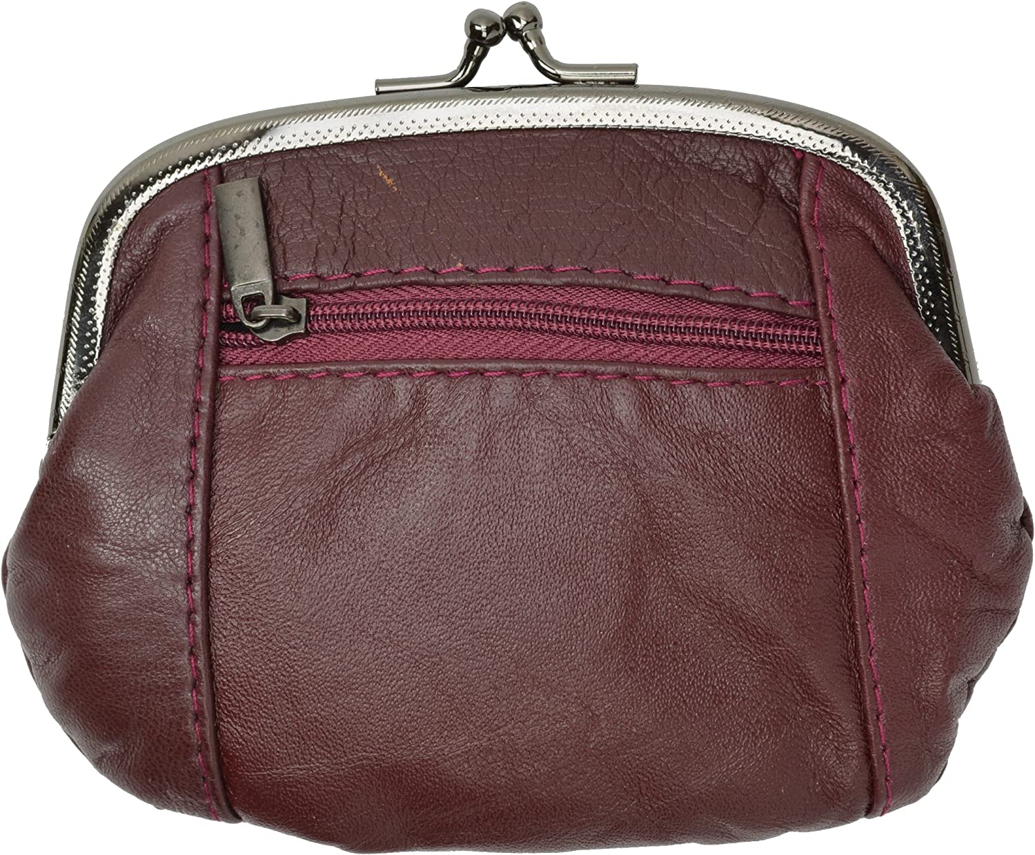 Womens Metal Frame Leather Zippered Coin Purse with Id Window By Marshal