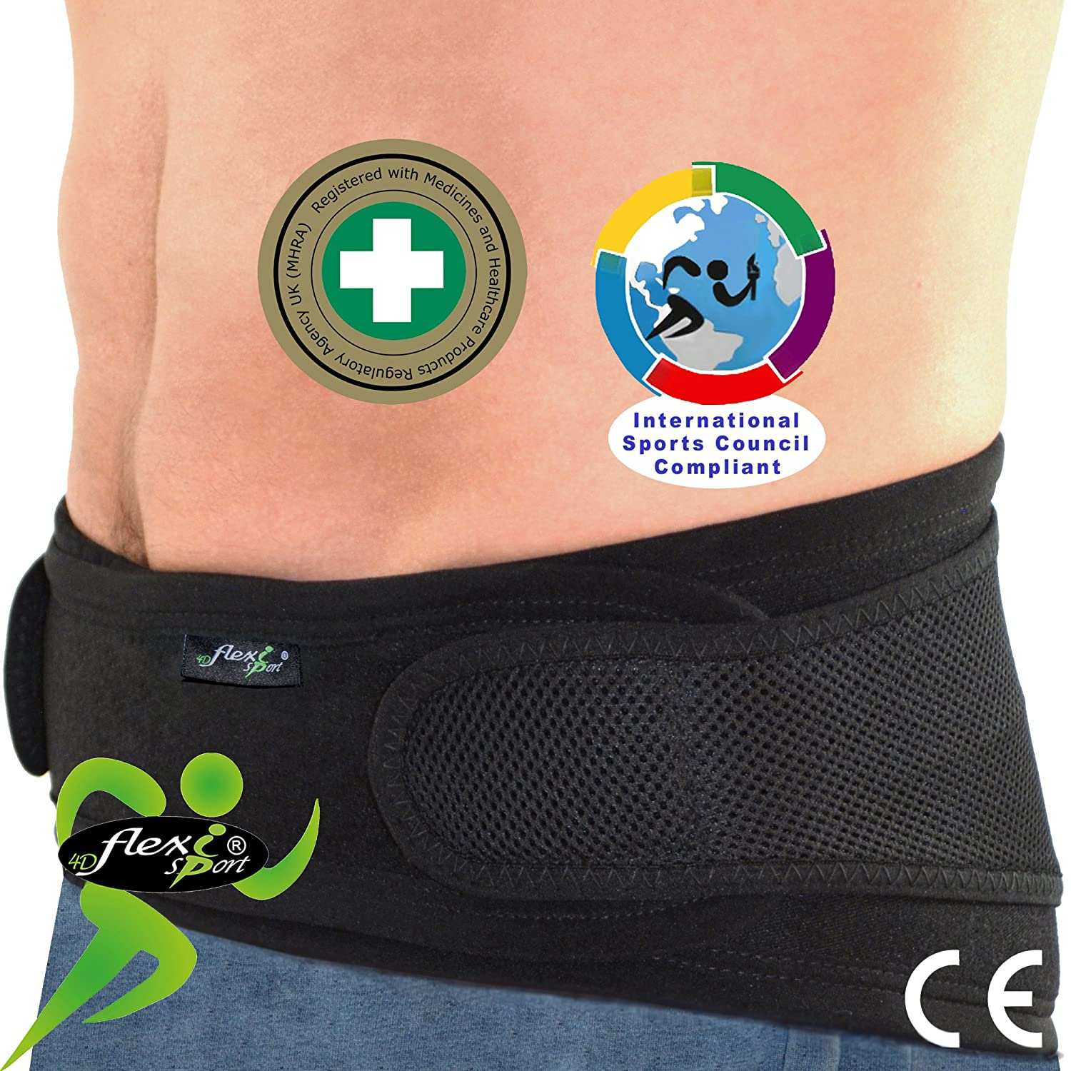 Lumbar Belt Hip & Lower Back Support (M/Black) NO Fixed Stays, Non Sweat - Superior ODOURLESS, Rash-Free Alternative to Neoprene/Latex Products. Unisex.