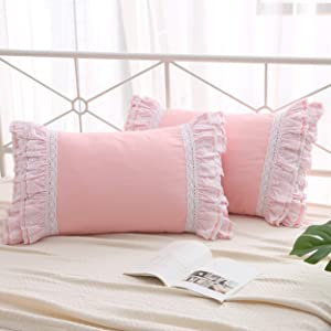"""Meaning4 2-Pack Pink Pillow Shams Cases Covers with Ruffles and Lace Cotton Queen Size 20""""X30""""Soft Boudoir Luxurious"""