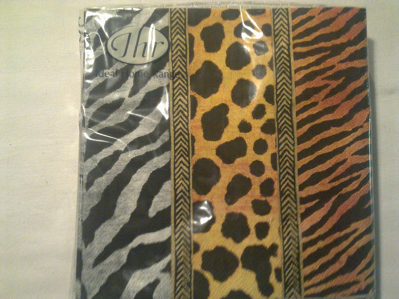 IHR African Animal Leopard Zebra Giraffe Print napkins 20 Animal Print Gold