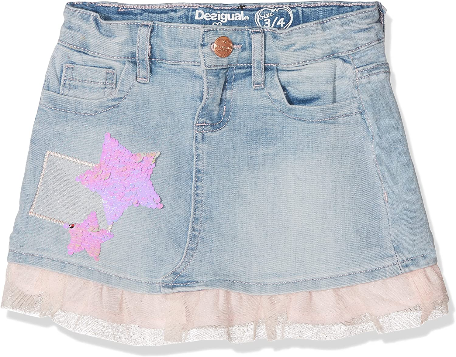Desigual Fal_granollers Falda, Azul (Denim Light Wash 5007), 152 ...