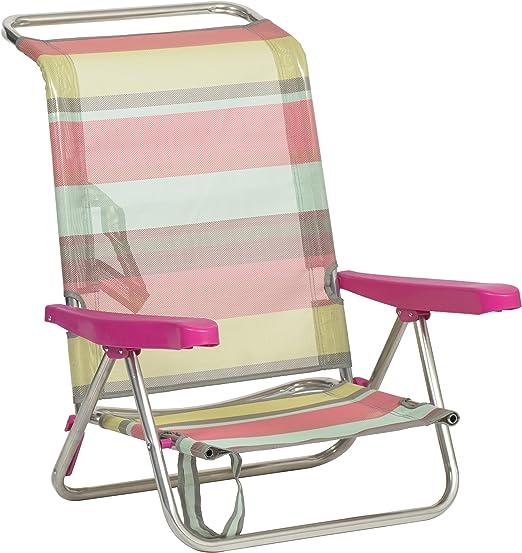 Alco 604ALF-1726 Silla Playa fibreline, Rayas Multicolor, 79x65 ...