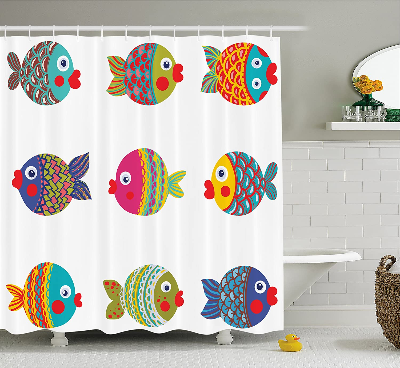 Ambesonne Ocean Animal Decor Shower Curtain, Boho Ethnic Featured Ornate Fish Gills Water Childish Kids Nursery Theme, Fabric Bathroom Decor Set with Hooks, 70 inches, Multi