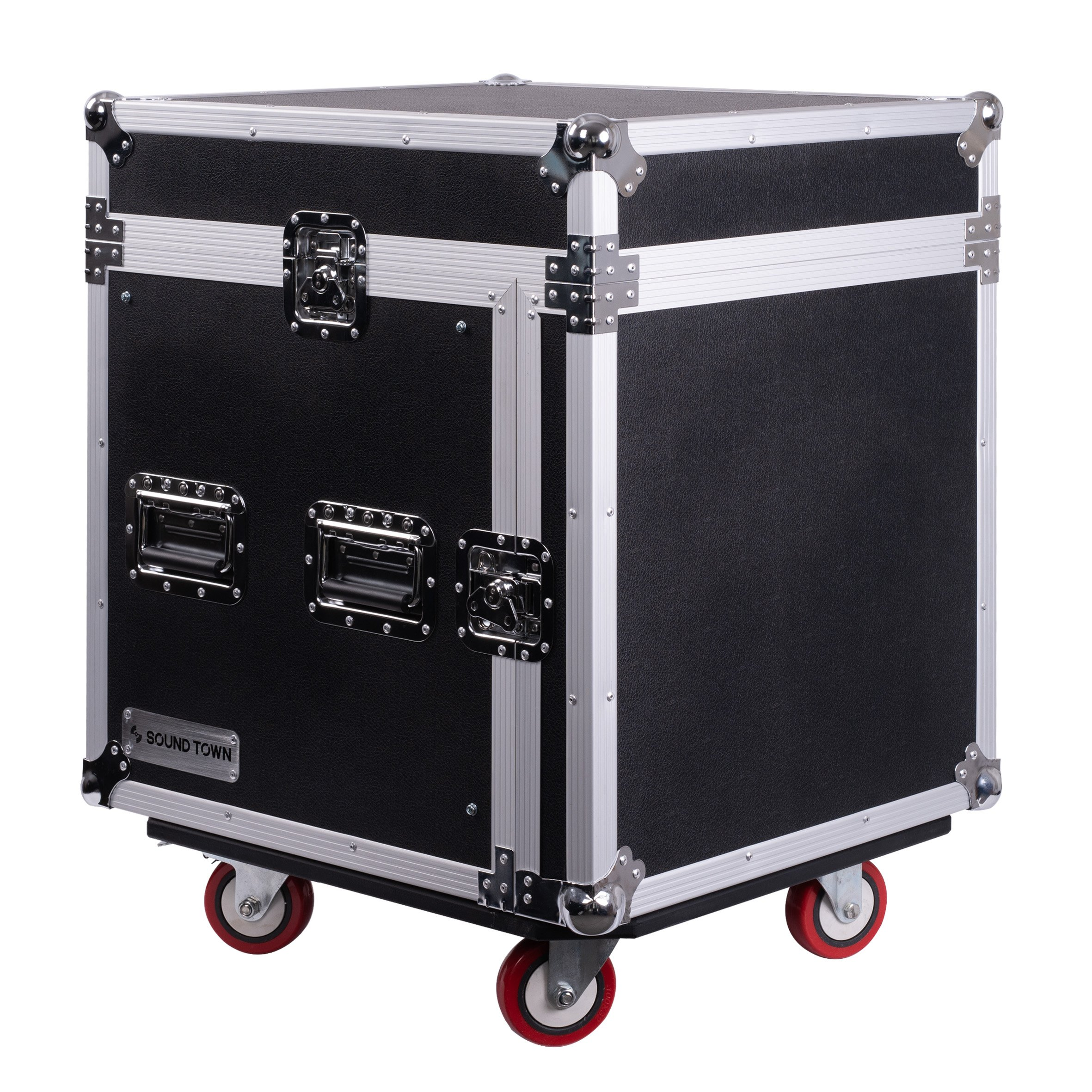 Sound Town 10U PA DJ Pro Audio Rack/Road ATA Server Case with Slant Mixer Top and Casters, 10 Space (STMR-10UW) by Sound Town