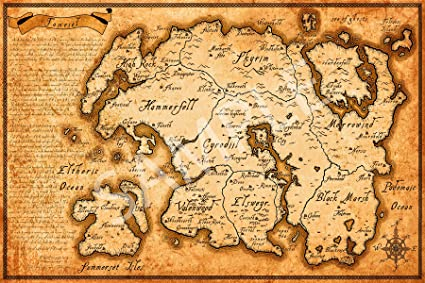 Amazon.com: Best Print Store - Elder Scrolls Map of Tamriel Poster ...
