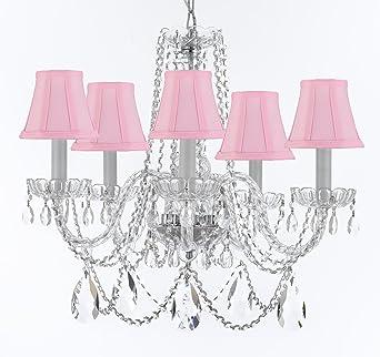 Murano Venetian Style Chandelier Crystal Lights Fixture Pendant - Chandelier crystals pink