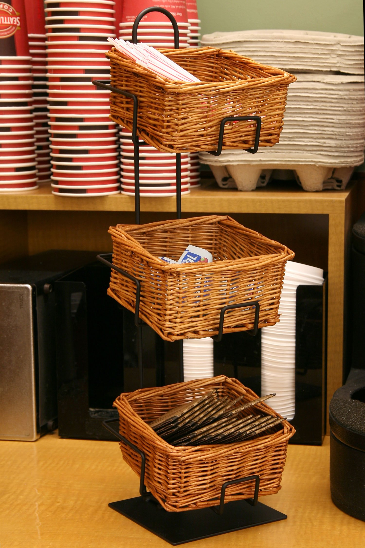 3-Tier 3 Rectangular Willow Basket Counter Display Rack by Mobile Merchandisers (Image #2)