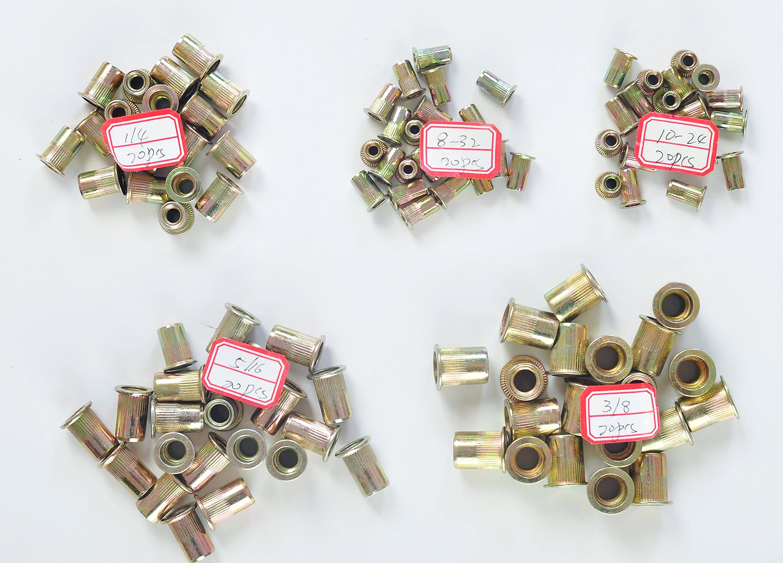 Q&R 100pcs Steel Rivet Nut  Insert Nutsert #8-32 #10-24 1/4-16 5/16-18 3/8-16 by RZX