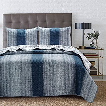 Skipper Furnishings Quilted and Reversible Microfibre Double Bed Spread and 2 Pillow Covers - Striped, Blue