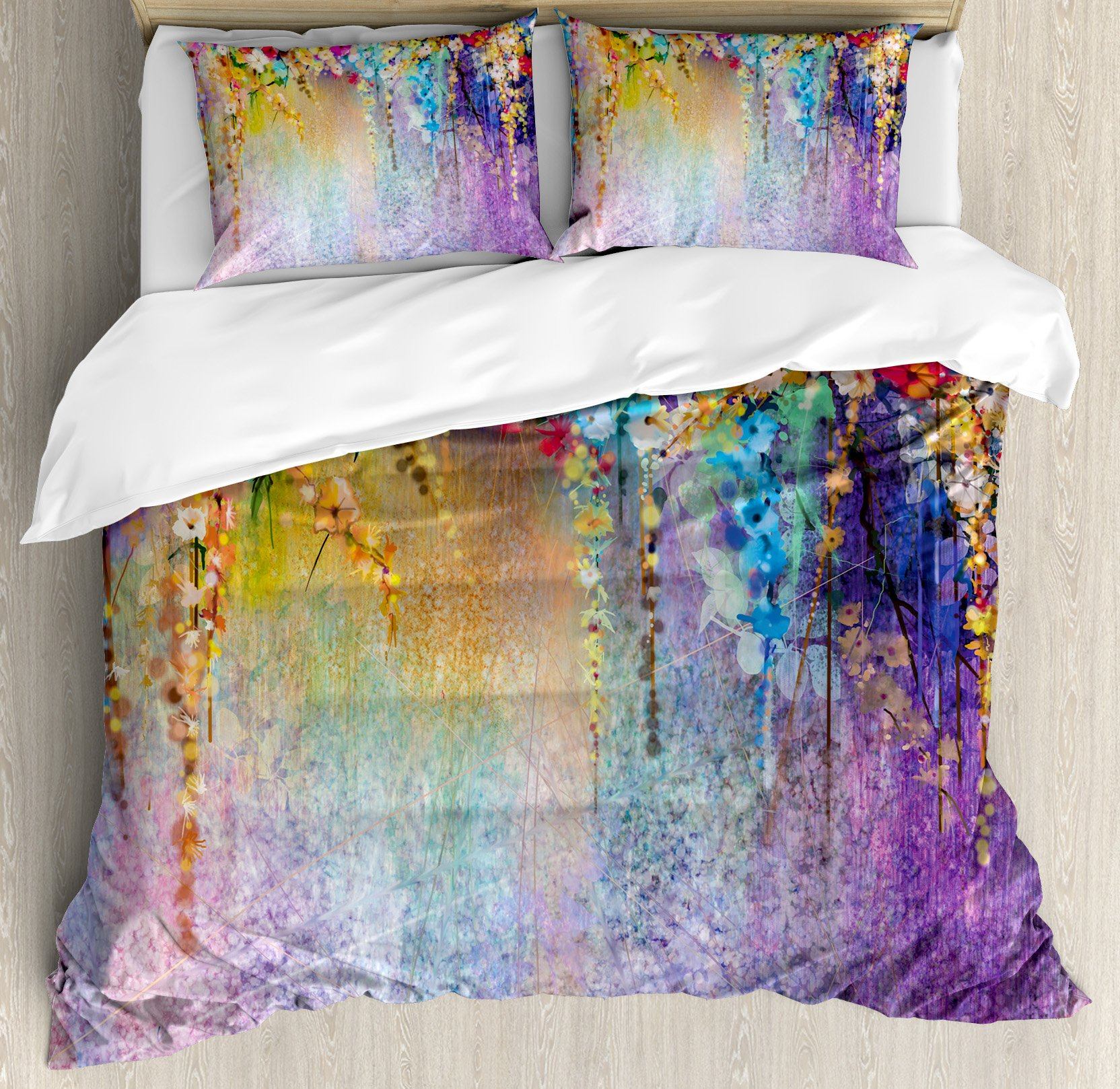 Ambesonne Watercolor Flower Home Decor Duvet Cover Set, Abstract Herbs Weeds Blossoms Ivy Back with Florets Shrubs Design, 3 Piece Bedding Set with Pillow Shams, Queen/Full, Multi