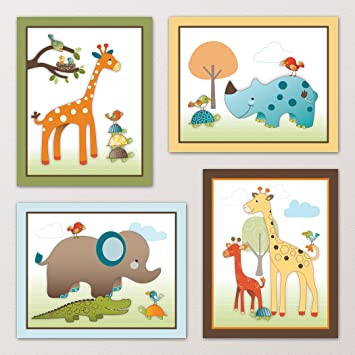 giraffe safari jungle animals nursery wall art decor kids bedroom decor 8quot - Childrens Bedroom Wall Decor