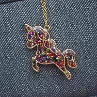 Gemas Coloreadas Unicornio Pegaso Azul Brillan en la oscuridad 18K Chapado en oro Collar