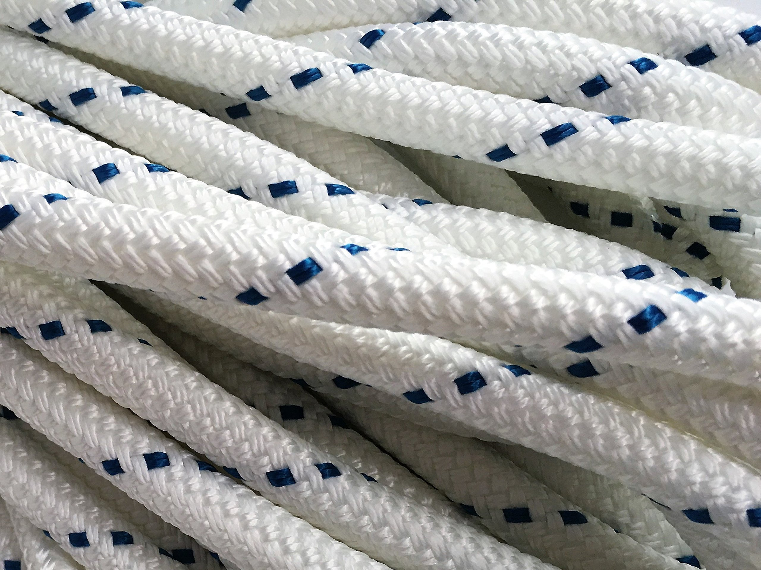 1/2'' X 100' Double Braid/Yacht Braid Premium Polyester Halyard Rigging Line, White/Blue