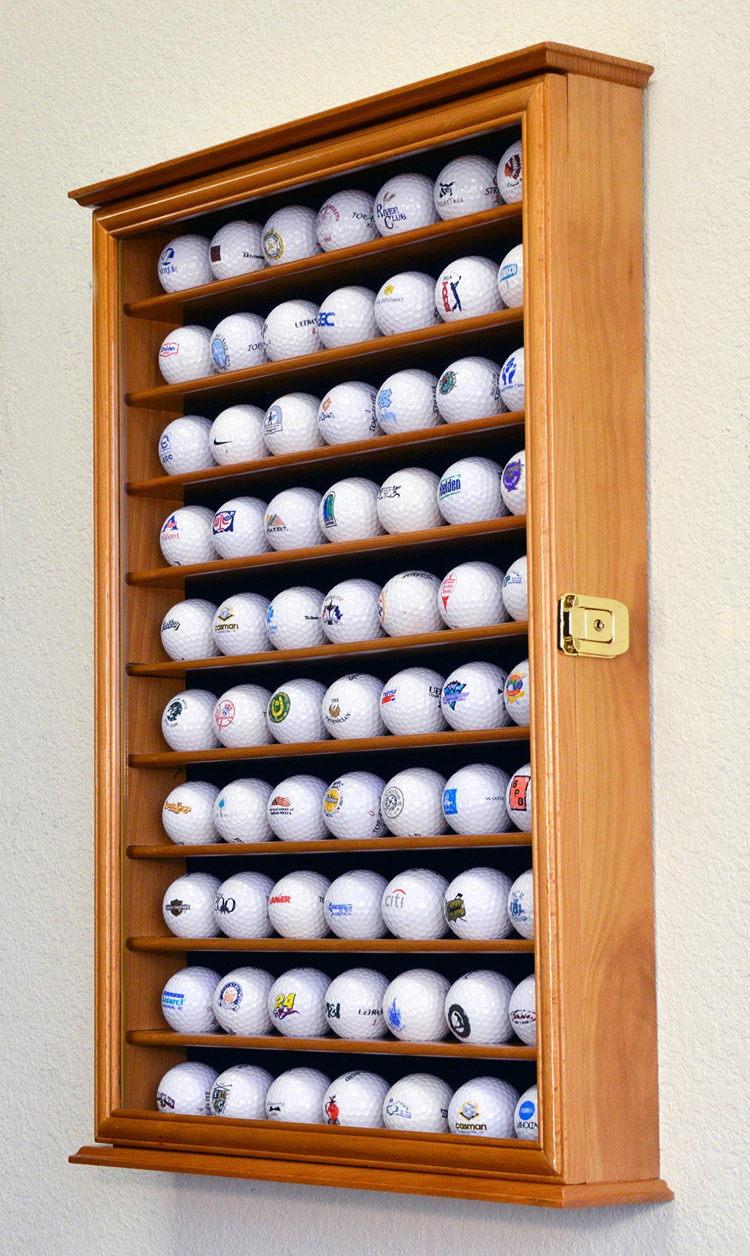 70 Golf Ball Display Case Cabinet Holder Wall Rack w/ UV Protection -Oak by sfDisplay (Image #3)