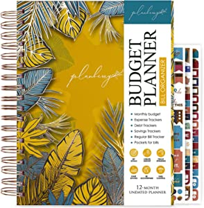 PLANBERRY Large Budget Planner & Monthly Bill Organizer with Pockets – 8.3″ x 9.4″ Home Finance & Bill Payment Organizer – Budgeting Book with Income & Expense Tracker – Hardcover (Golden Jungle)