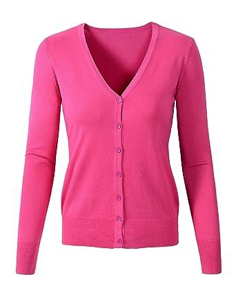 c04b080a3af1 Womens V Neck Button Down Long Sleeve Basic Soft Knit Cardigan ...