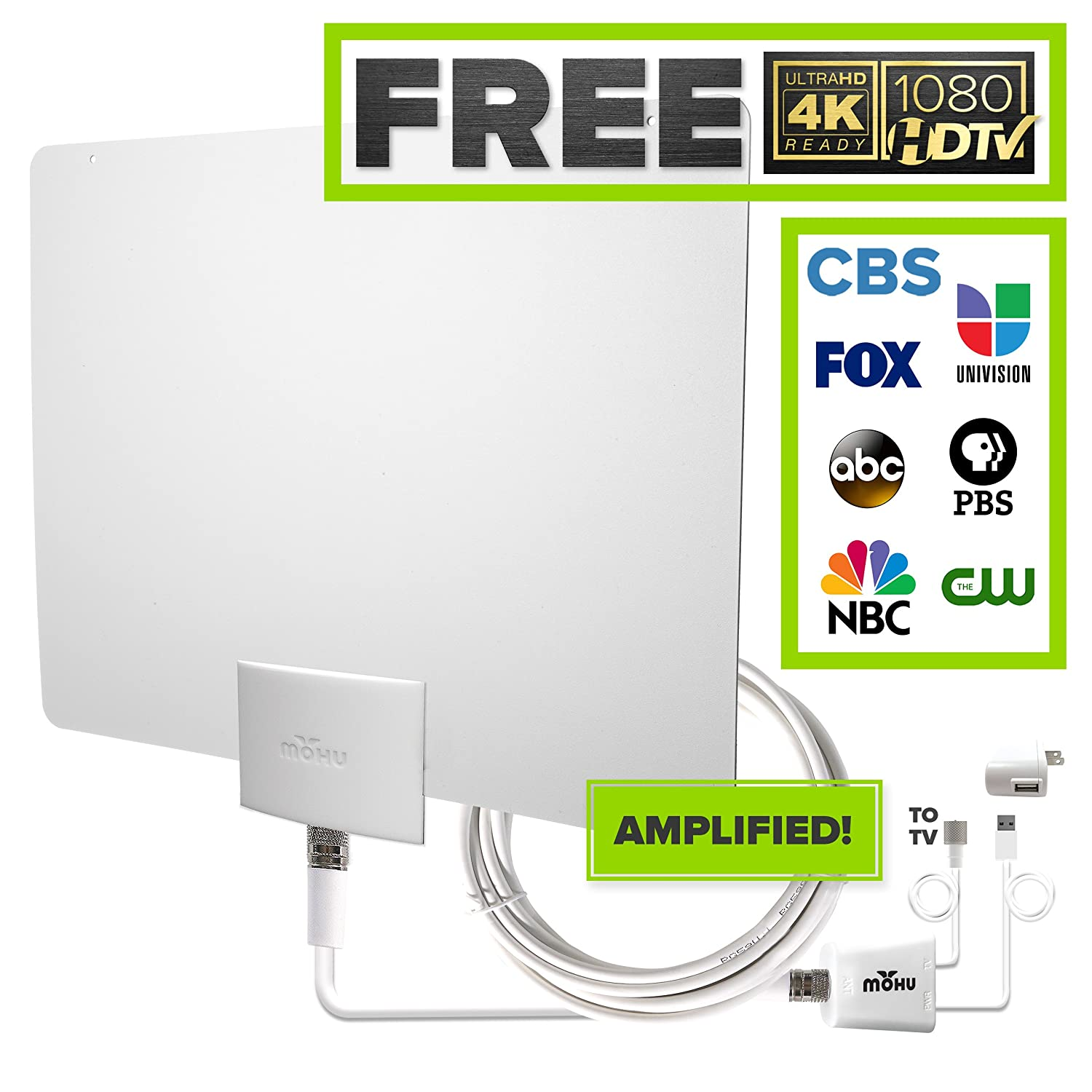 Amazon.com: Mohu Leaf 50 Indoor HDTV Antenna, Amplified, 60 Mile Range,  Original Paper-thin, Reversible, Paintable, 4K-Ready, 16 Foot Detachable  Cable, ...
