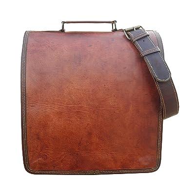 """Maison De Cuir 12"""" Full Flap Leather Messenger Bag Convertible Backpack Shoulder Bag Laptop Bag"""