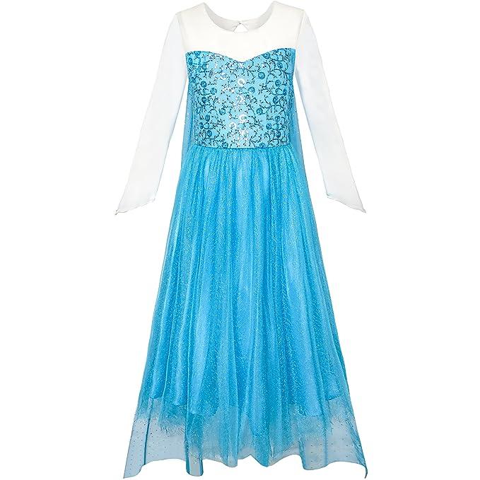 KJ87 Sunny Fashion Vestido para niña Cartoon Disfraz Princesa Elsa Espumoso Fiesta 12 años