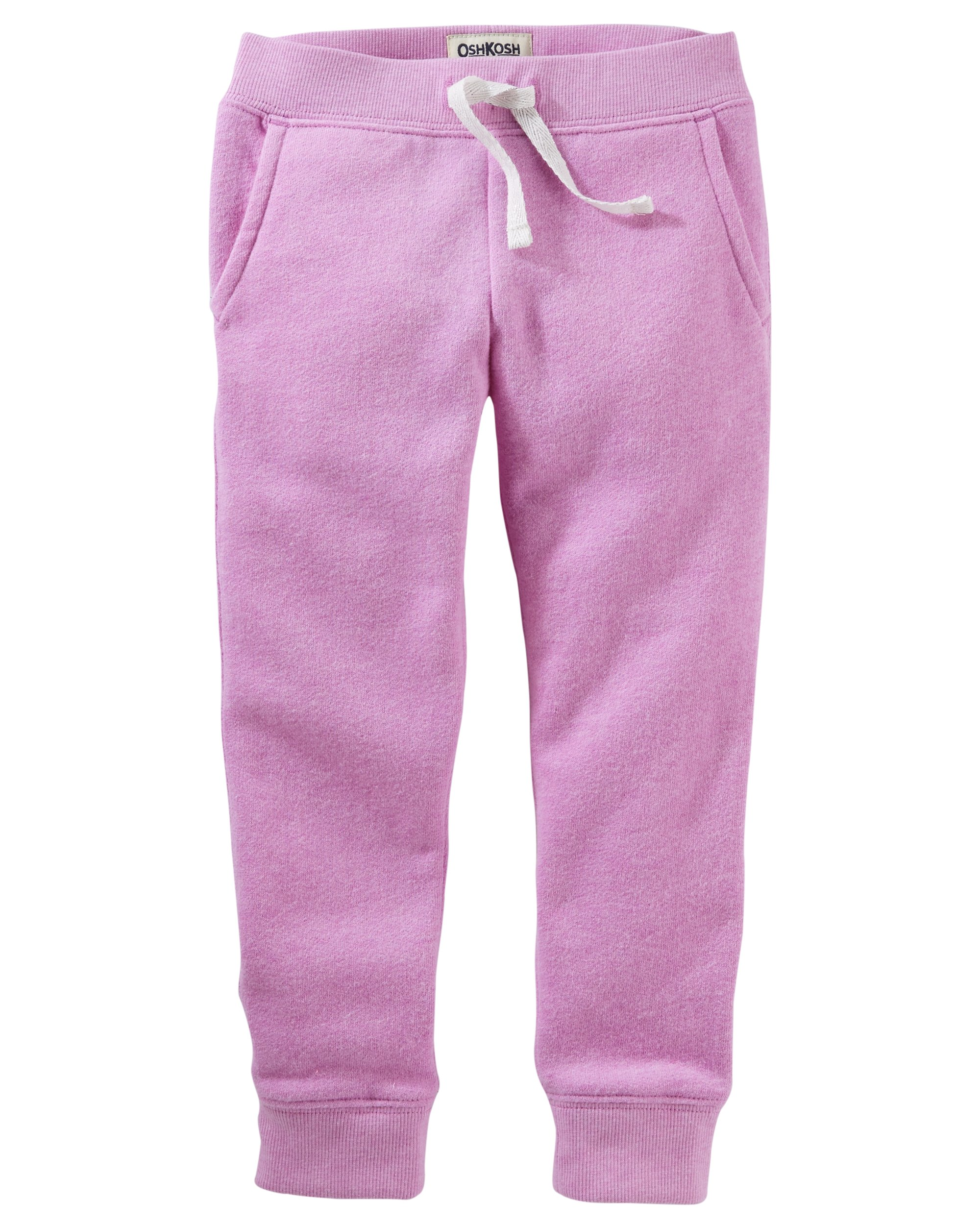 Osh Kosh Girls' Toddler Fleece Jogger Pants, Purple, 3T