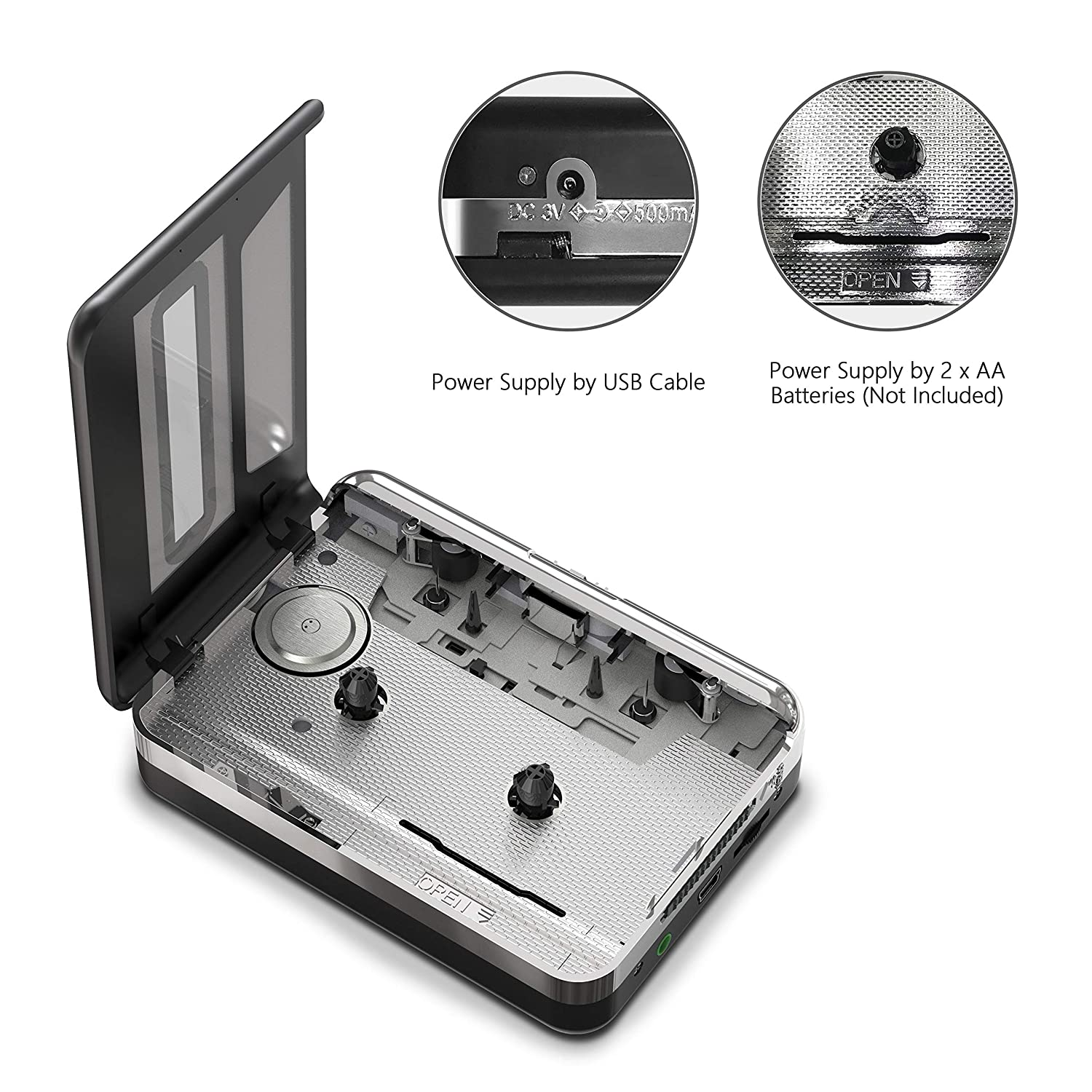 Dansrueus Untrodden Cassette to MP3 Converter USB Cassette Player from Tapes to MP3 PC and Mac Silver 055