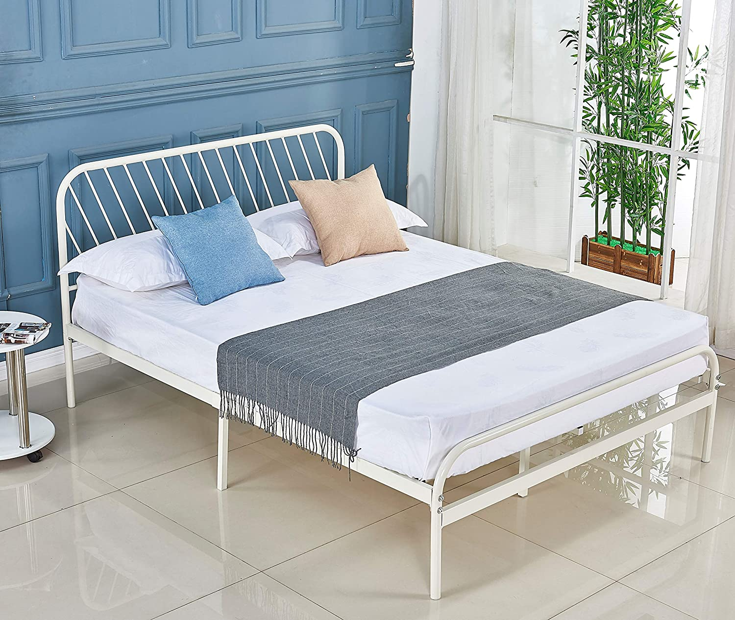 Alooter Full Bed Frame, White Platform Metal Bed Frame Foundation Full Size with Headboard and Footboard DS-11 Full