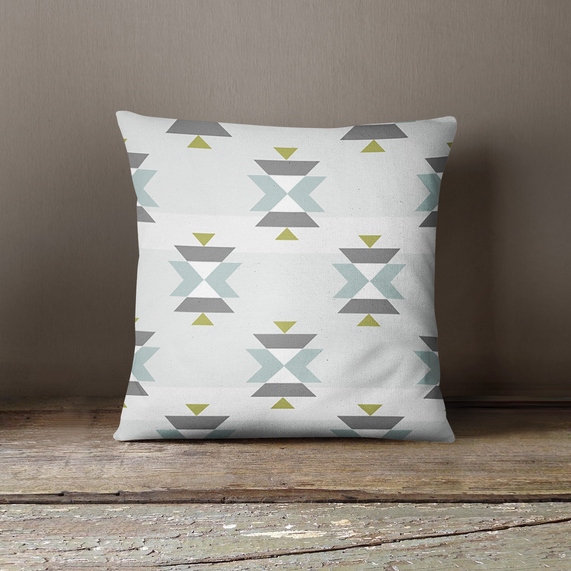 Grey Green Aztec Pillow Cover