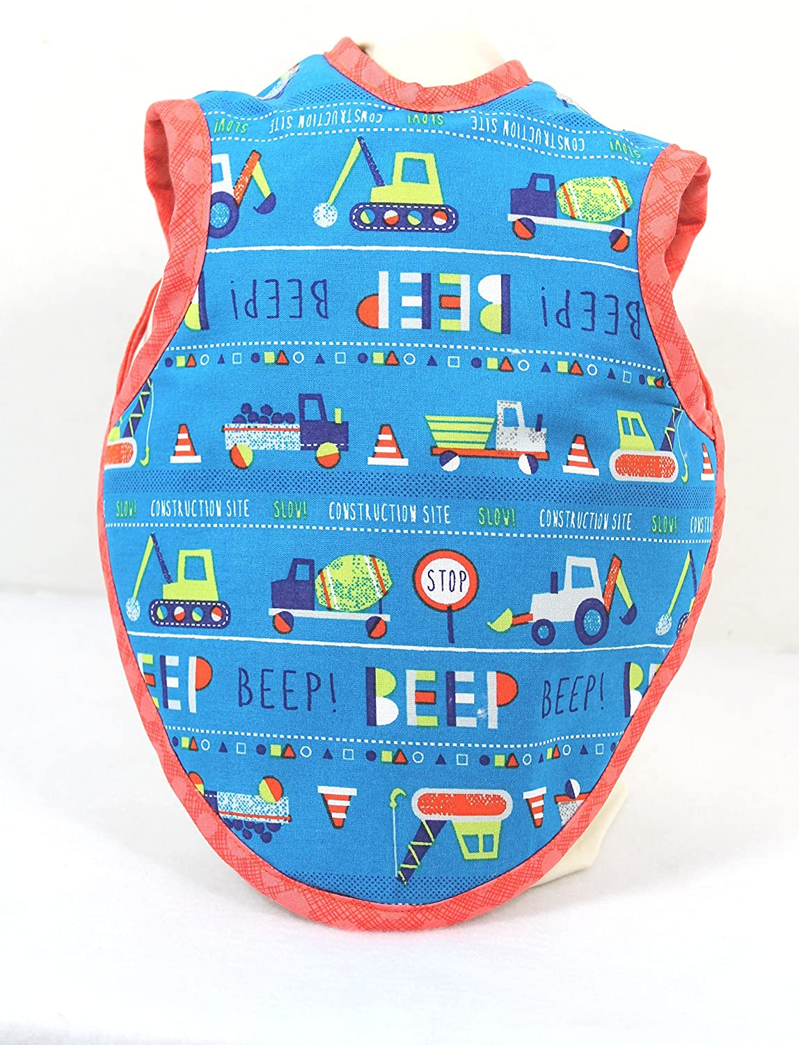 Baby Bib Bapron Construction Vehicles Beep For Ages 3 to 12 Months Handmade Ready to Ship