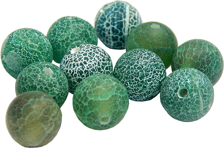 Piedras preciosas Piedra Natural Mate perlas de ágata joyas piedra verde 10mm Bola r309