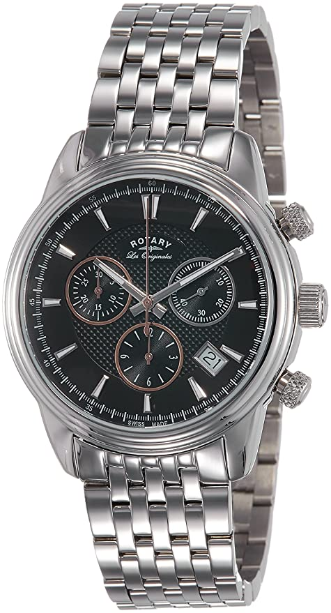 Reloj de cuarzo Rotary Les Originales Monaco, Cronógrafo, Negro, 40 mm, Día
