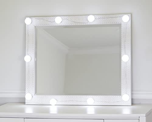 DIY Lighted Hollywood Makeup Mirror Kit 10 Dimmable LED Light Bulbs 10x Magnifying Mirror Free For Bedroom, Bathroom, or Dressing Table, Stage Makeup, Precise Makeup Application