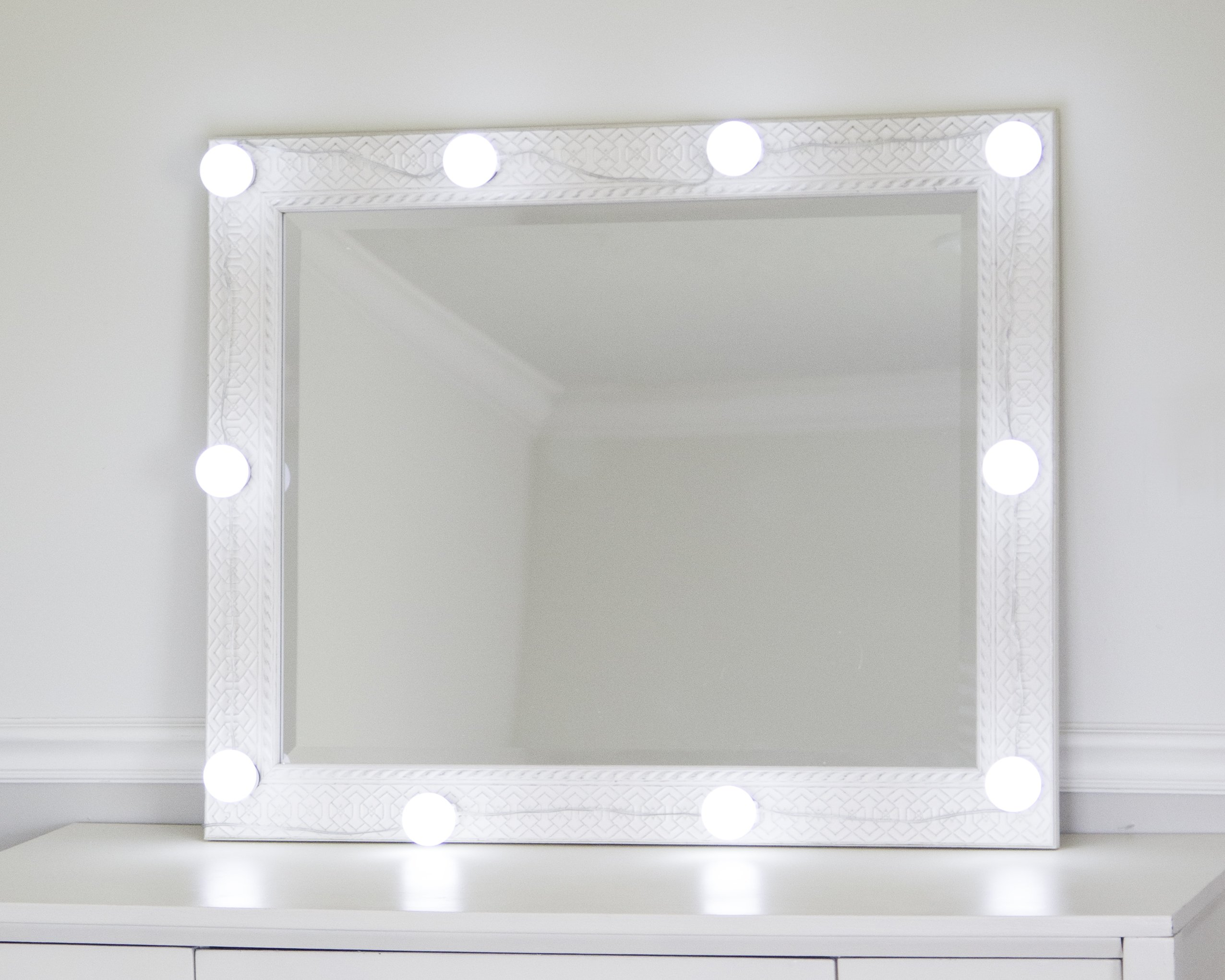 DIY Lighted Hollywood Makeup Mirror Kit | 10 Dimmable LED Light Bulbs | 10x Magnifying Mirror Free | For Bedroom, Bathroom, or Dressing Table, Stage Makeup, Precise Makeup Application