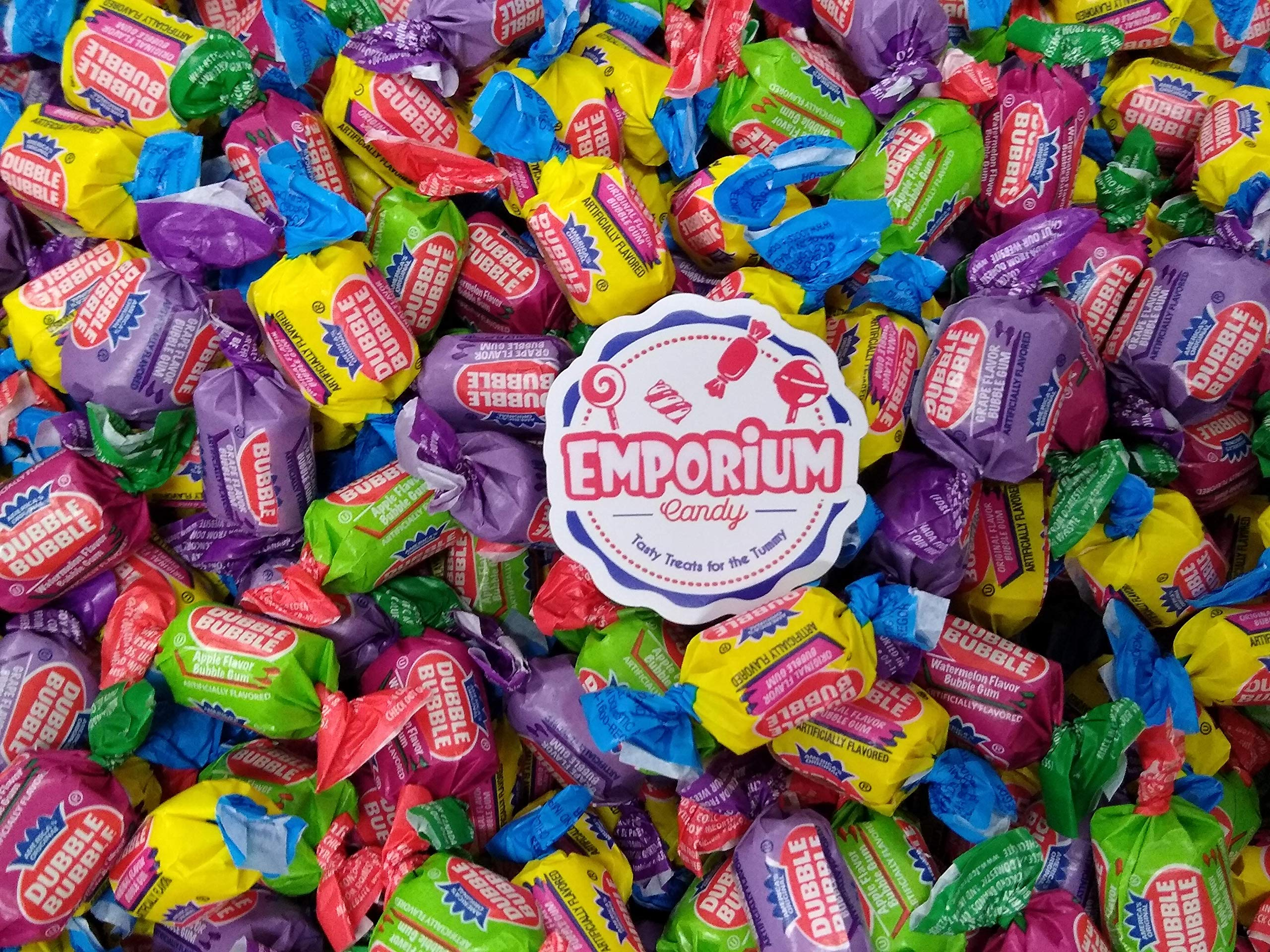 Dubble Bubble - Delicious Assorted Flavor Wrapped Bubble Gum 1.5 lbs Original Apple Watermelon Grape Assorted Gum with Refrigerator Magnet