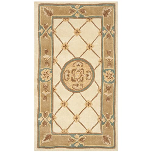 Safavieh Naples Collection NA523B Handmade Ivory and Caramel Wool Area Rug, 2 feet 6 inches by 4 feet 6 inches 2 6 x 4 6