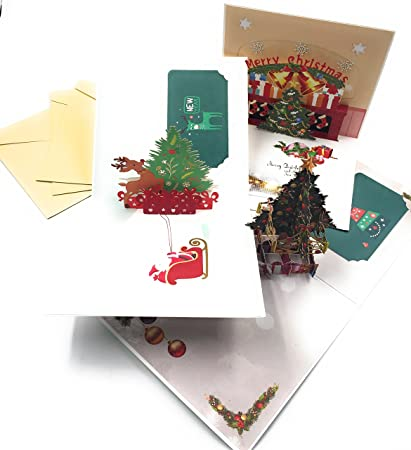 Postales Navidad 3D XYZ IDEA Pack de 3, Espectaculares Bonitas y ...