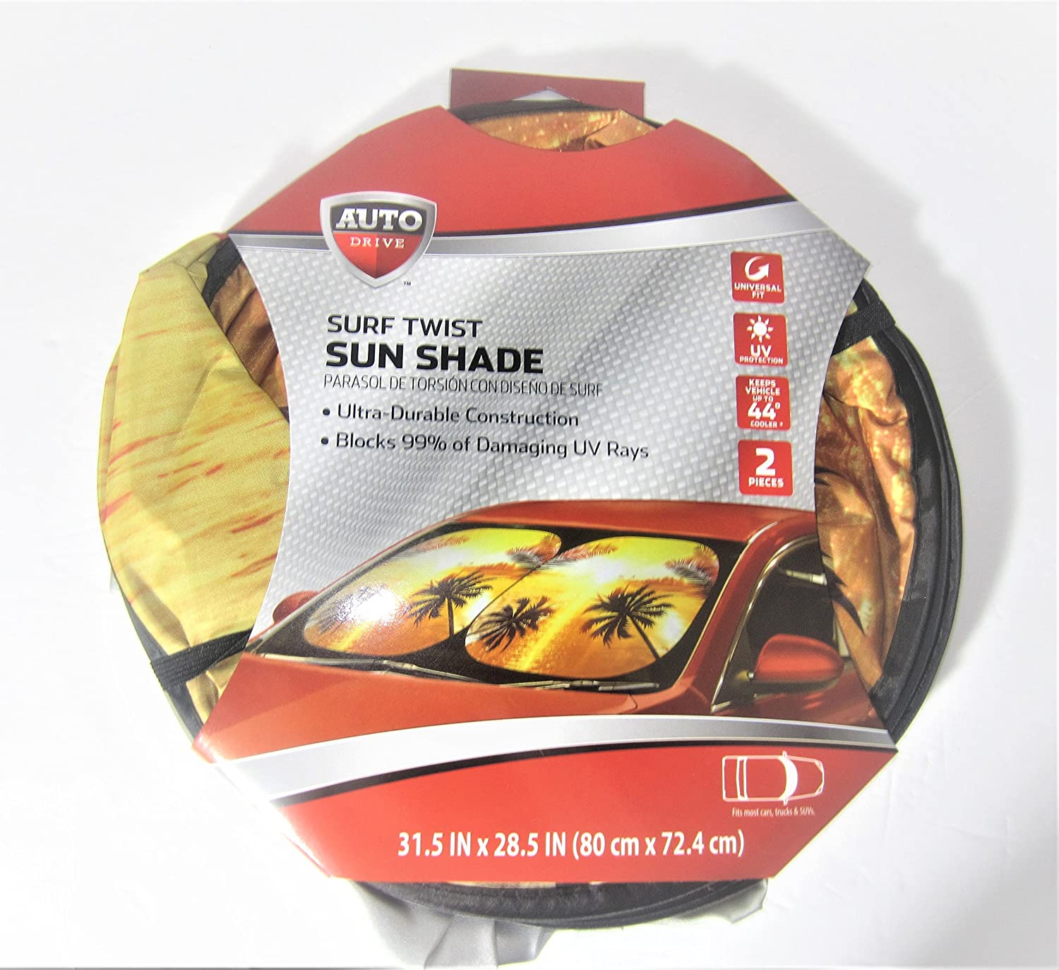 Auto Drive Vintage Surf Twist Sun Protection Collapsible Sun Shades 31.5 X 28.5 inch