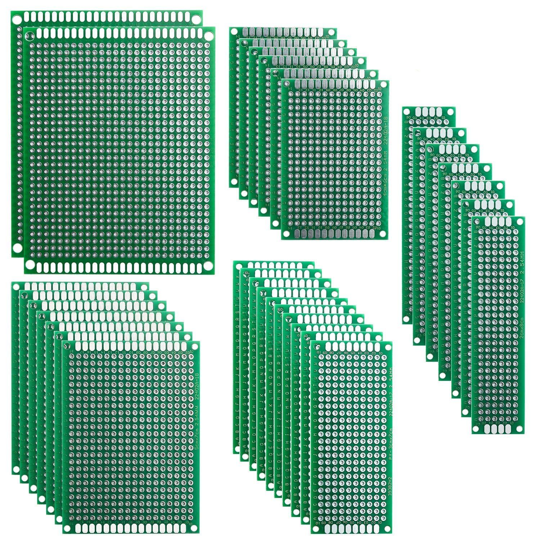 Elegoo 32 Piezas Doble Cara Junta de PCB Doble Cara Tarjeta Placa Prototipo Kit para Soldadura DIY con 5 Tamañ os Compatible con los kits Arduino ES-EL-CP-021