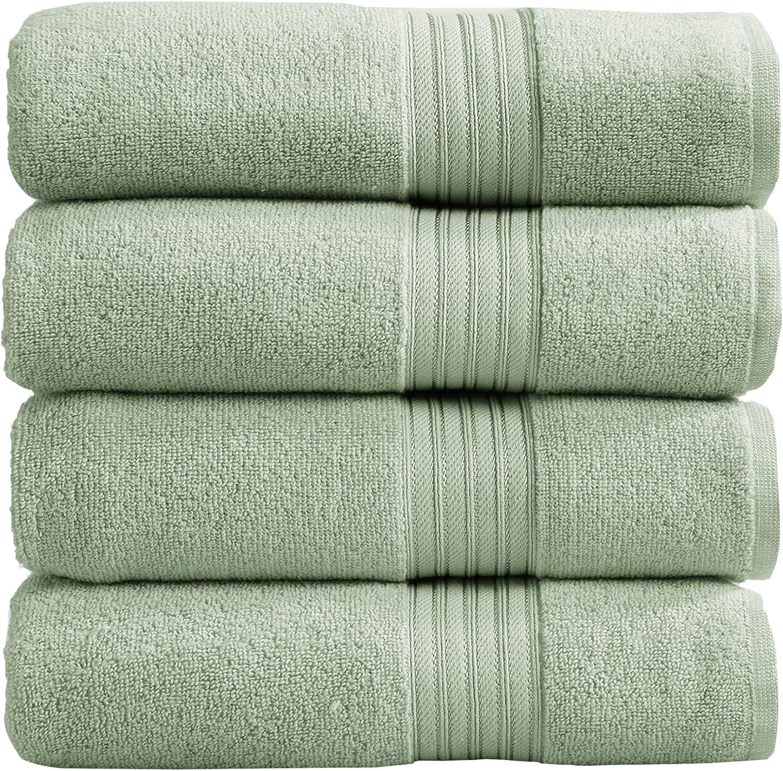 4-Pack Bath Towel Set. 100% Cotton Bathroom Towels. Absorbent Quick-Dry Plush Bath Towels. Cooper Collection. (Bath Towels, Seagreen)