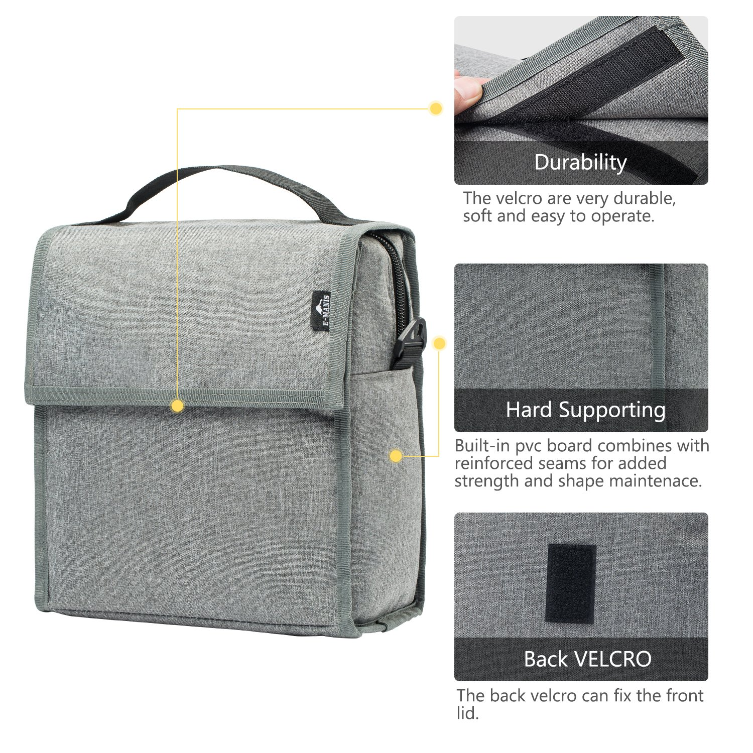 E-MANIS Insulated Lunch Bag Adult Lunch Box Collapsible Multi-Layers  Thermal Insulated Oxford 00196bc5f52e9