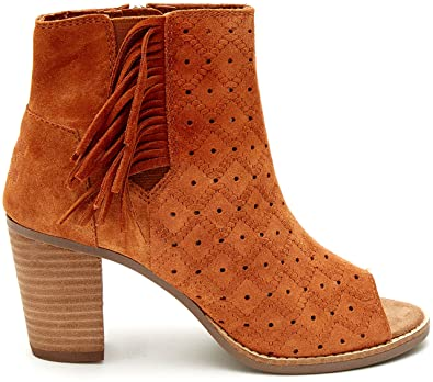 TOMS Women's Majorca Peep Toe Bootie Cinnamon Suede Perforated/Fringe Boot  5 B (M
