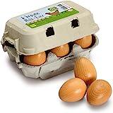 Wooden Play Food - Pretend Play Grocery Shop - Box of Half Dozen Eggs (brown) by Erzi