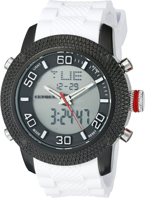 CEPHEUS CP903-626 - Reloj analógico y Digital de Cuarzo para Hombre con Correa de Silicona, Color Blanco