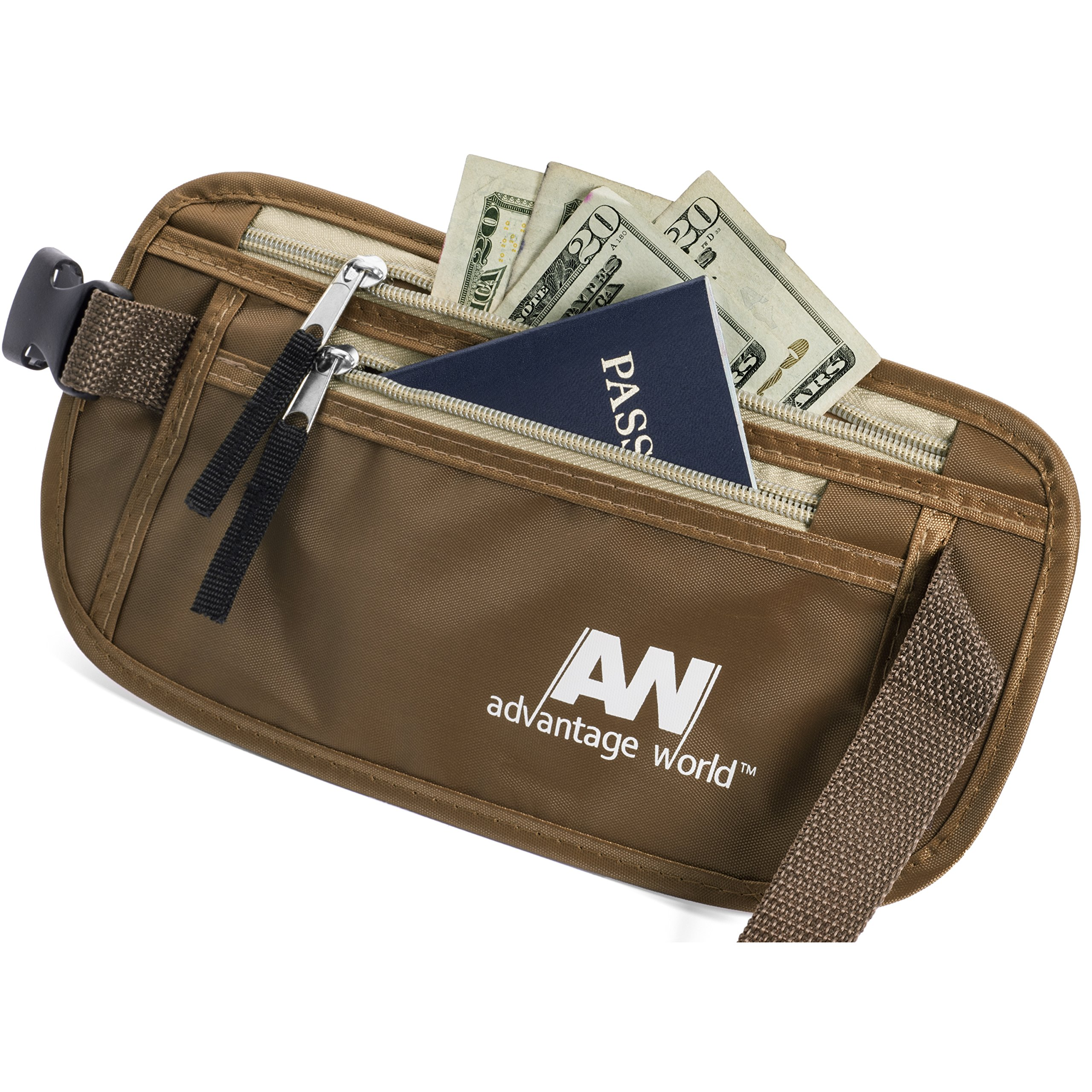 Money Belt for Travel with Security Hidden RFID Waist Pouch. by Advantage World