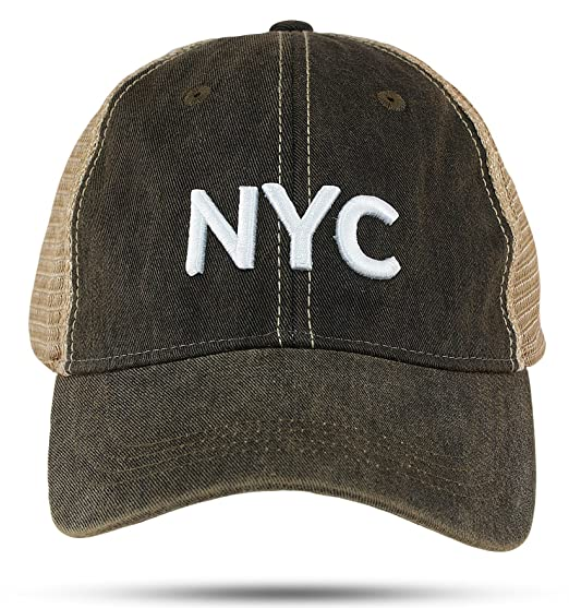 Nyc Trucker Hat Black Decayed Cap With 1 Inch 3d Puff Embroidery At