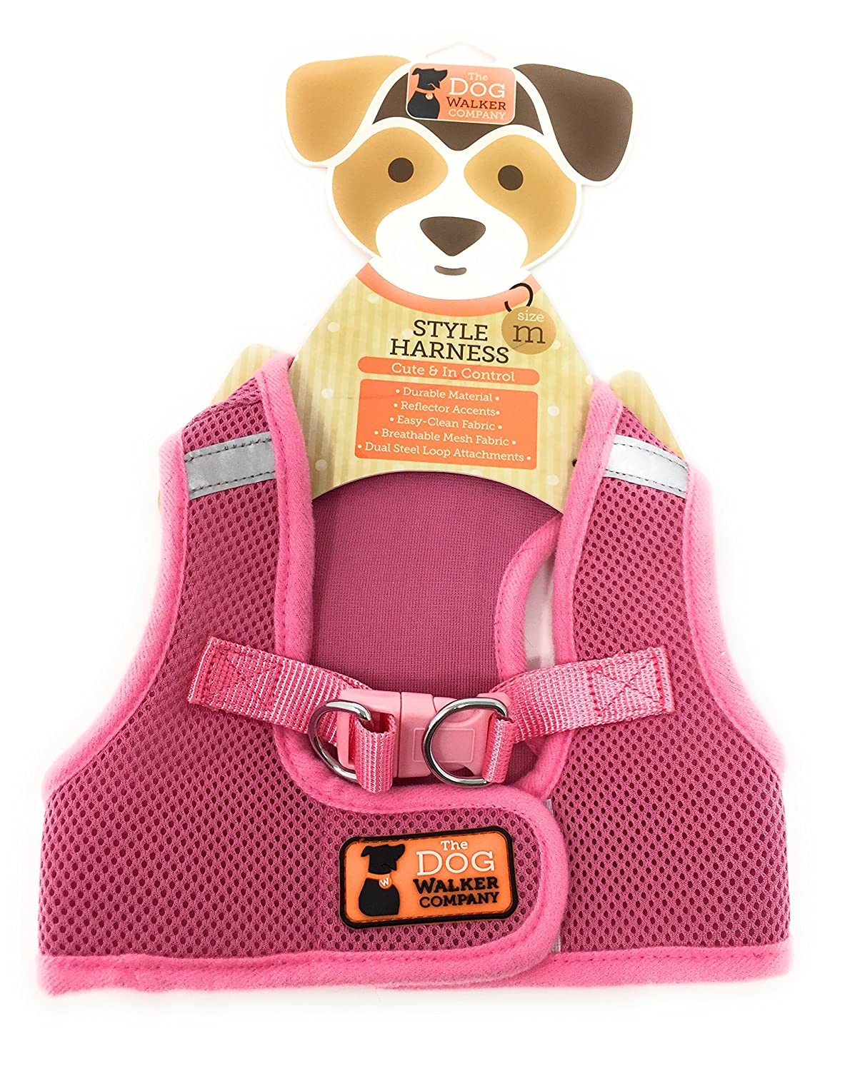 The Dog Walker Medium Style Harness  Pink