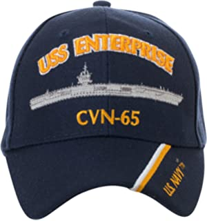 d118a6d9c45 Artisan Owl Officially Licensed USS Enterprise CVN-65 Embroidered Navy Blue  Baseball Cap