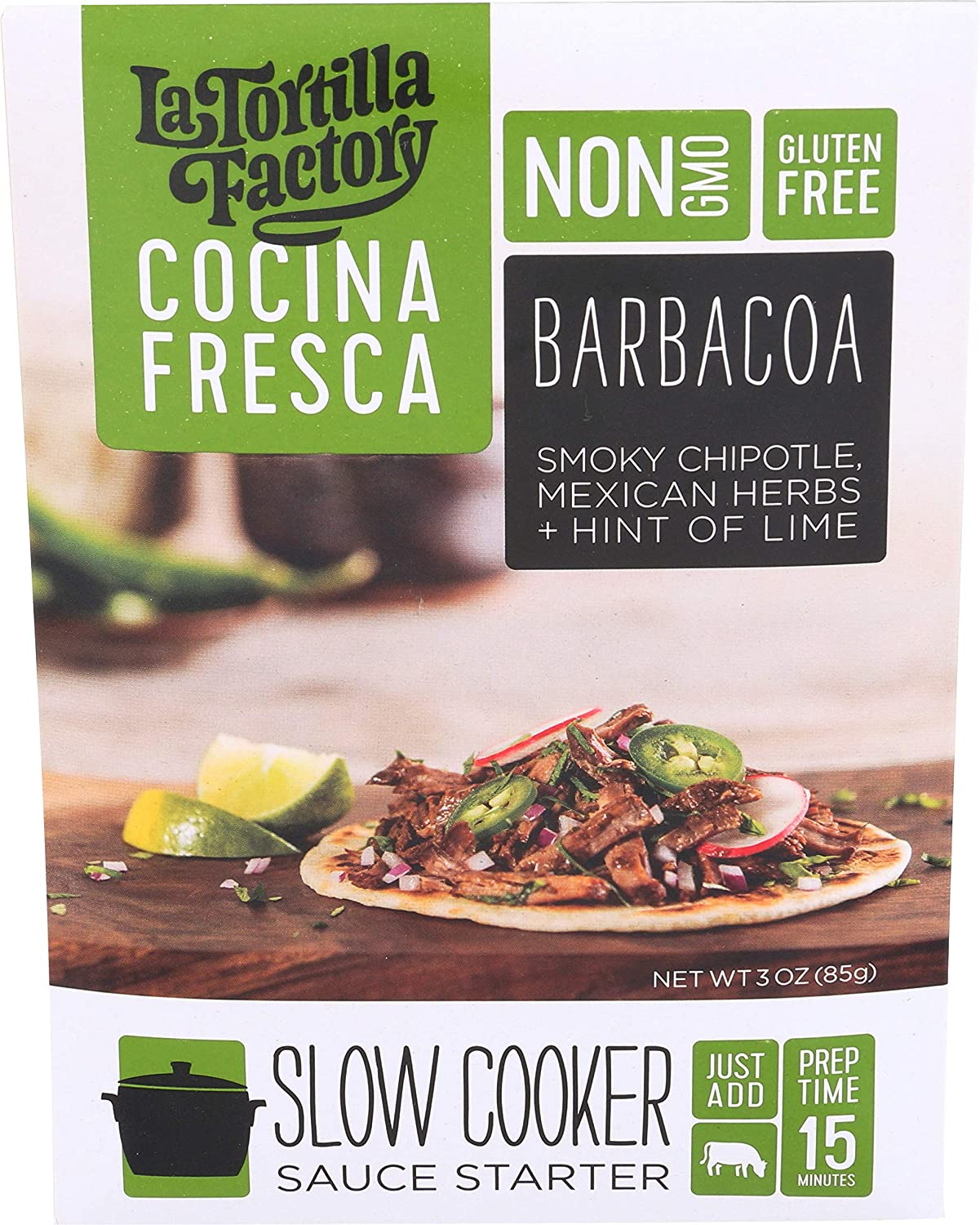Amazon.com : La Tortilla Factory Cocina Fresca Barbacoa Slow Cooker Sauce Starter, 3oz (Pack of 3) : Grocery & Gourmet Food