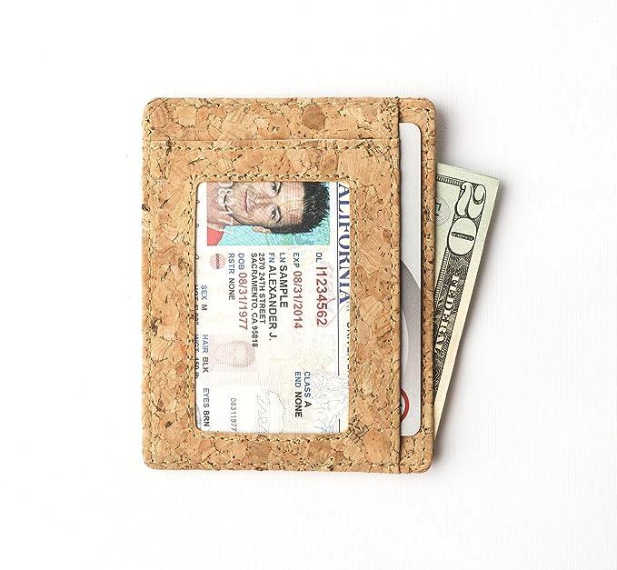 Andar - Cartera de piel fina con ventana de identificación, minimalista bolsillo frontal RFID bloqueo