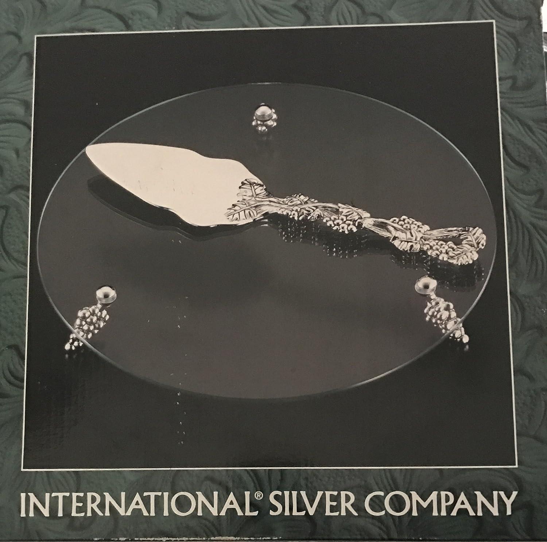 International plateado Company envejecido diseño de uva y plateado soporte para tartas de cristal con mango: Amazon.es: Hogar